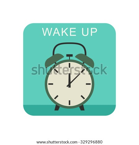 Wake up flat icon with alarm clock. - stock vector