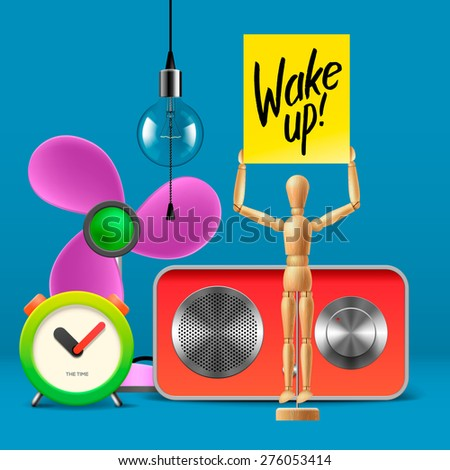 Wake up. Workspace mock up with analog alarm clock, sound system, fan, wooden mannequin, vector illustration.  - stock vector
