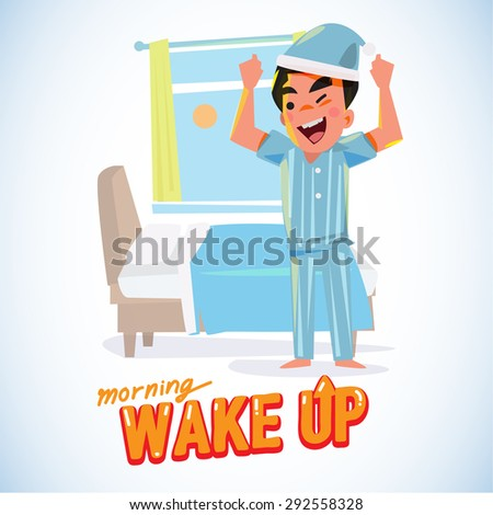 waking up man in the morning in refresh action. character design - vector illustration - stock vector