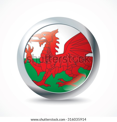 Wales flag button - vector illustration