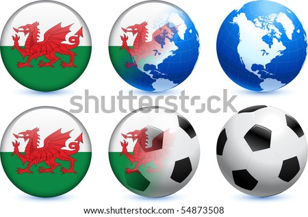 Wales Flag Button with Global Soccer Event Original Illustration - stock vector