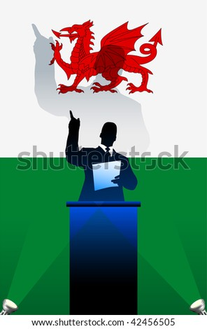 Wales  flag with political speaker behind a podium  Original vector illustration. Ideal for national pride concepts. - stock vector