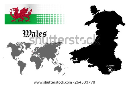 Wales info graphic with flag , location in world map, Map and the capital ,Cardiff, location.(EPS10 Separate part by part) - stock vector