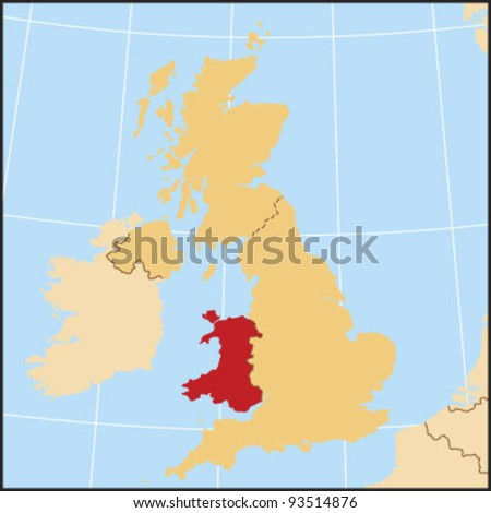 Wales Locate Map - stock vector