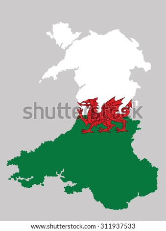 Wales, UK, high detailed silhouette illustration isolated on background. Wales coat of arms, seal, national emblem, isolated.