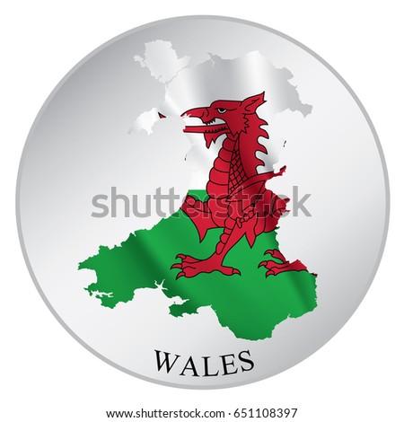 Wales Vector Sticker With Flag And Map Label Round Tag Country Name