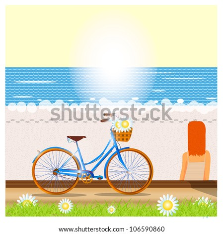 walk at the sea - stock vector
