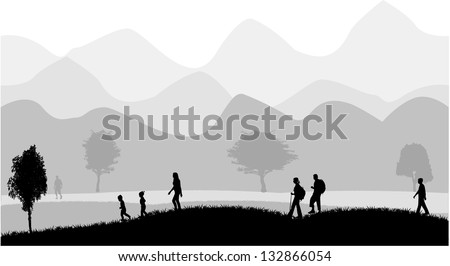walk in the mountain climate - stock vector