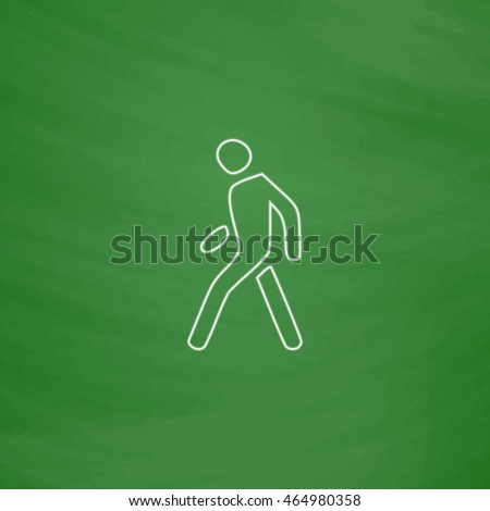 Walk Man Outline vector icon. Imitation draw with white chalk on green chalkboard. Flat Pictogram and School board background. Illustration symbol