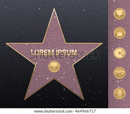 Walk of fame star illustration. Hollywood famous sidewalk. Five category signs - camera, microphone, music disc, tv, masks. Eps10 vector.