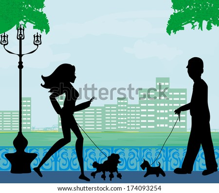 walk the dog in a city park - stock vector