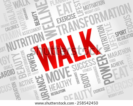 WALK word cloud, fitness, sport, health concept - stock vector