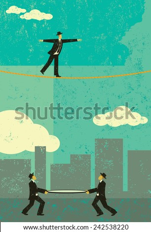 Walking a Tightrope - stock vector