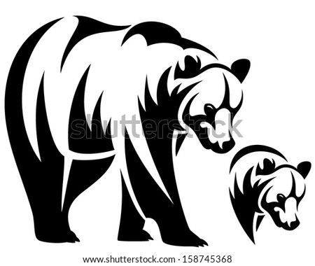 Walking Bear And Animal Head Black White Vector Outline Emblem