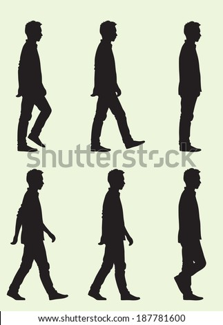Walking Cycle Silhouette - stock vector
