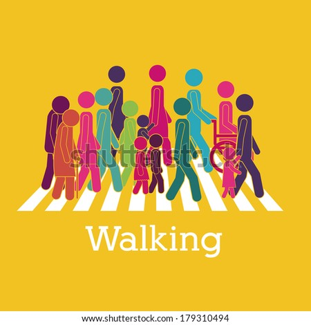 walking design over yellow background vector illustration - stock vector