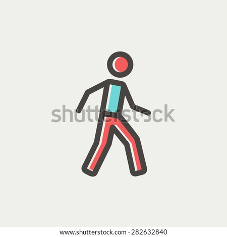 Walking exercise icon thin line for web and mobile, modern minimalistic flat design. Vector icon with dark grey outline and offset colour on light grey background. - stock vector