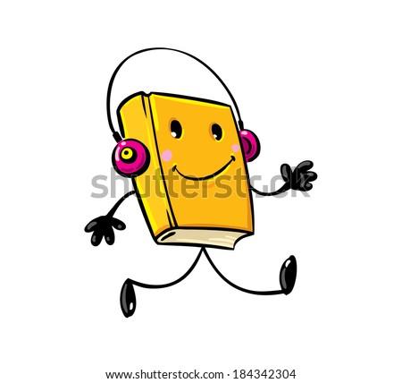 Walking funny smiley yellow book with pink headphones - stock vector