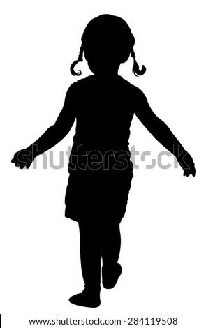 walking girl silhouette vector  - stock vector