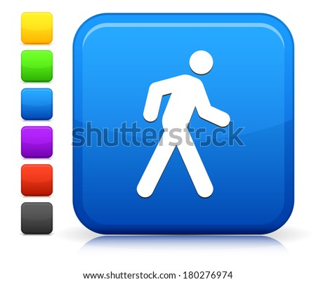 Walking Icon on Square Internet Button Collection - stock vector