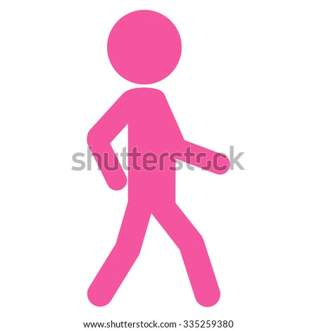 Walking Male Person vector icon. Style is flat symbol, pink color, rounded angles, white background. - stock vector