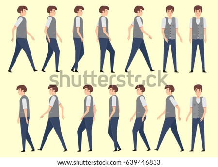 Walking Man Animation 14 Frame Sequence Stock Vector 639446833 ...