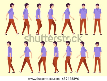 Walking Man Animation 14 Frame Sequence Stock Vector HD (Royalty ...