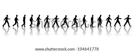 walking man sequence - stock vector