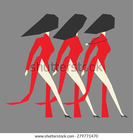 Walking modern Vietnamese women with Ao dai dresses on grey background, vector illustration.
