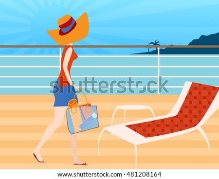 Walking on A Cruise Ship Deck - Woman walking on a cruise ship deck ready to sit and relax in a deck chair to read