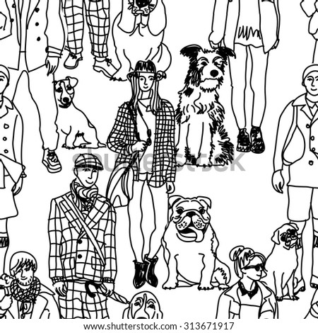 Walking people and dogs seamless pattern. Big group of pets with people. Seamless pattern. Black and white vector illustration. EPS8
