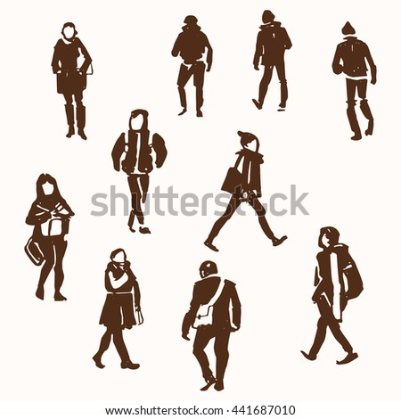 Walking people brush pen sketches. Gesture figure drawing. City life. Vector hand drawn eps 10 clip art illustration isolated on white background. - stock vector