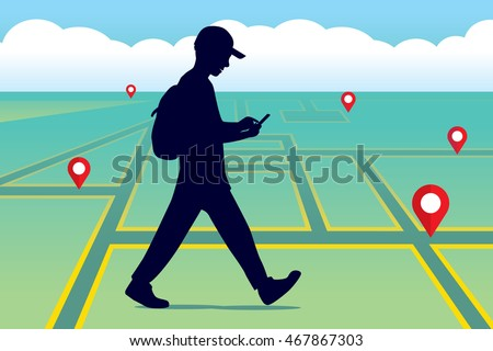 Walking people with a mobile phone - stock vector