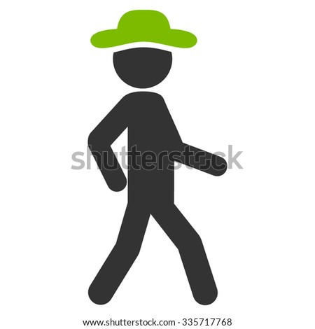 Walking Person vector icon. Style is bicolor flat symbol, eco green and gray colors, rounded angles, white background. - stock vector