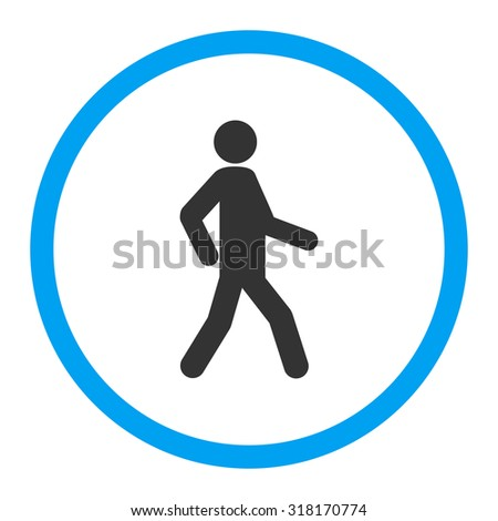 Walking vector icon. This rounded flat symbol is drawn with blue and gray colors on a white background. - stock vector