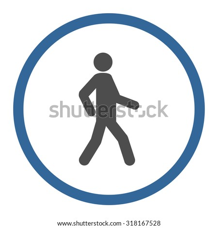 Walking vector icon. This rounded flat symbol is drawn with cobalt and gray colors on a white background. - stock vector