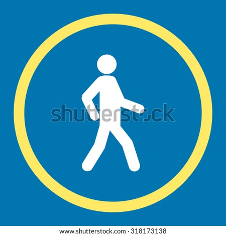 Walking vector icon. This rounded flat symbol is drawn with yellow and white colors on a blue background. - stock vector