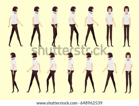 Walking Woman Animation 14 Frame Sequence Stock Vector 648962539 ...