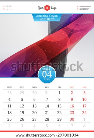 Wall Calendar 2016. April. Vector Template with Abstract Background. Week Starts Monday - stock vector
