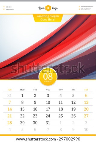 Wall Calendar 2016. August. Vector Template with Abstract Background. Week Starts Sunday - stock vector