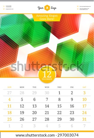 Wall Calendar 2016. December. Vector Template with Abstract Background. Week Starts Sunday - stock vector