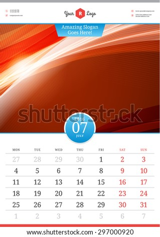 Wall Calendar 2016. July. Vector Template with Abstract Background. Week Starts Monday - stock vector