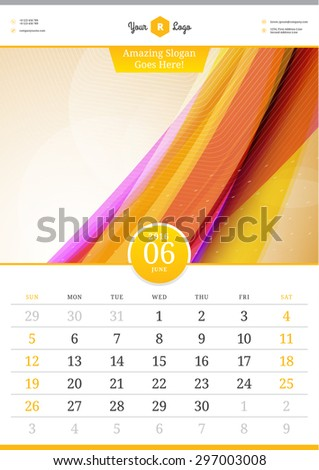 Wall Calendar 2016. June. Vector Template with Abstract Background. Week Starts Sunday - stock vector