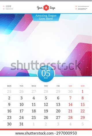 Wall Calendar 2016. May. Vector Template with Abstract Background. Week Starts Monday - stock vector