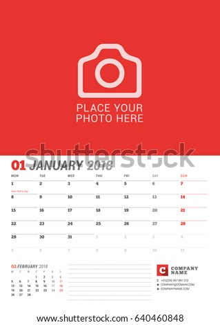 Wall Calendar Planner for 2018 Year. January. Vector Print Template with Place for Photo. Week Starts on Monday. 2 Months on Page