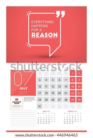 Wall Calendar Planner Print Template 2017 Stock Vector 446946463 ...