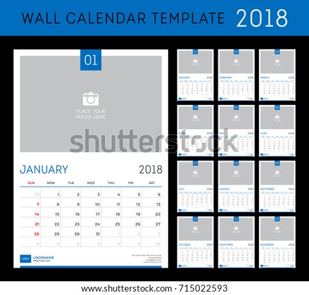 Wall Calendar Planner Template  Year Stock Vector