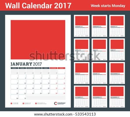 Wall Calendar Planner Template 2017 Year Stock Vector 533543113