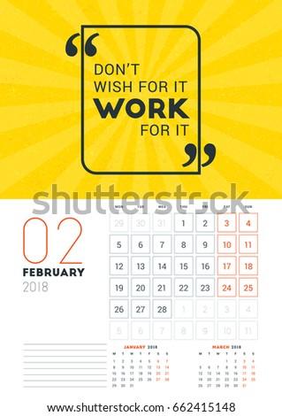 Wall Calendar Template March 2018 Vector Stock Vector 662415754 ...
