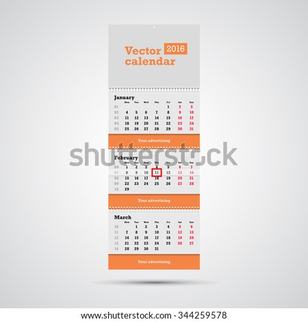 3 month calendar stock images royalty free images vectors wall calendar vector template vertical calendar template with three month sections and advertising placeholders with pronofoot35fo Gallery